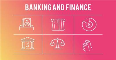 12533 金融商务主题线条图标 特效素材 AE模板资源站