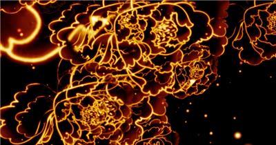 -富贵牡丹系列款Y0979国花牡丹粒子LED素材 led视频素材库