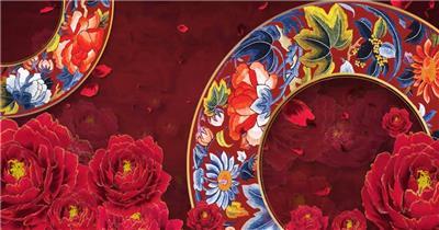 YM0375少数民族风牡丹花朵花瓣(有音乐) -民族歌舞图腾 配乐 歌舞