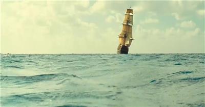 -帆船航海波浪款Y7432古代帆船有音乐 led视频素材库