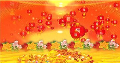 M1213新年元宝灯笼福字鲜花-新年春节元旦视频