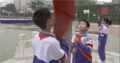 0272-小学生升国旗教育 知识 学习 教室