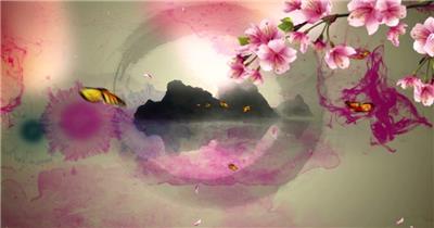 江南水乡蝴蝶花瓣中国风唯美古典 中国风视频 背景视频