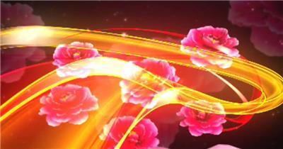 YM1101喜庆牡丹花民歌民族舞蹈婚礼背景 配乐 歌舞