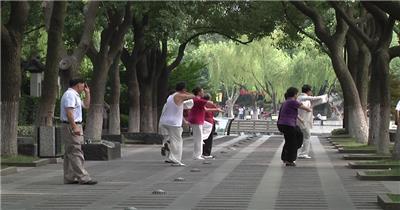 晨练打太极的人们 精选城市高清实拍