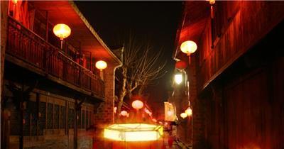 8790元宵灯笼 夜色 明月 荷花 中国风视频 背景视频