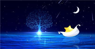 儿童 卡通 梦幻YM2987星空粒子月亮小船小树流星有音乐)背景视频 视频背景