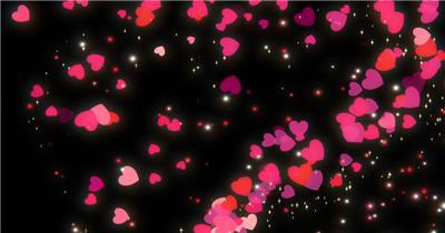 4组爱心粒子视频素材