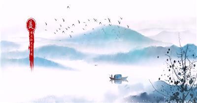 山水中国风一带一路水墨片头AE模板