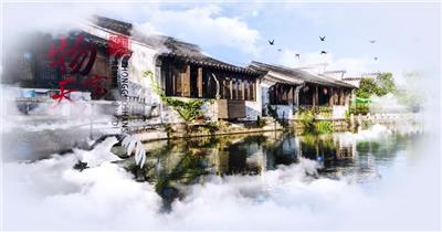 中国风清新水墨风景城市片头AE模板