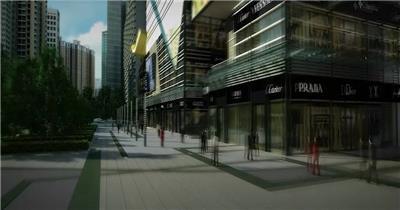 高清三维建筑动画商业街漫游3d生长动画商业商街大楼鸟瞰商厦