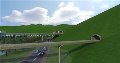 三维建筑漫游动画3d动画隧道高架桥梁车流交通鸟瞰
