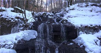 [4K] 天然瀑布冰柱 4K片源 超高清实拍视频素材 自然风景山水花草树木瀑布超清素材