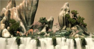 梅花鹿瀑布森林三维建筑动画别墅小区环境