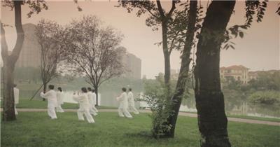 晨练 瑜伽 锻炼 太极 休闲 养身 宣传片 专题片素材 实拍视频素材