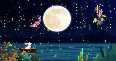 中秋玉兔唯美舞台背景视频