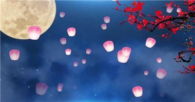 唯美中秋节舞台背景视频