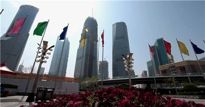 中国上海广州城市地标建筑高端办公楼夜景航拍宣传片高清视频素材城市27