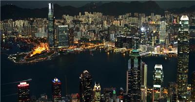中国上海广州城市地标建筑高端办公楼夜景航拍宣传片高清视频素材城市夜景17