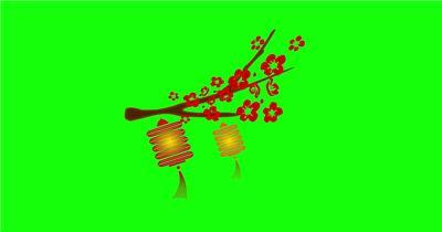 绿底花瓣飘落+灯笼