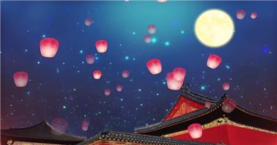故宫中秋佳节灯笼飞舞展示唯美背景