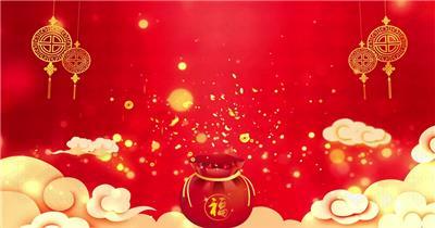 红色背景福袋祥云
