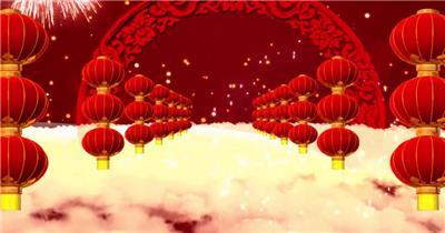 红色灯笼舞台背景