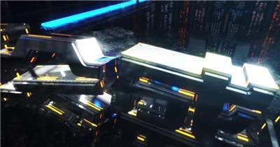 炫彩霓虹科幻年会场景开篇AE模板