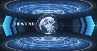 旋转的全息高科技地球标题动画和标志开场