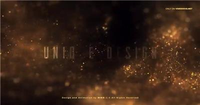 大气金色闪光粒子喷涌而来的文字标题开场序列