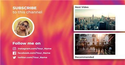 社交自媒体频道的结尾屏幕动画设计