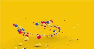 创意的密集三维表情小球和标志的开场揭示动画