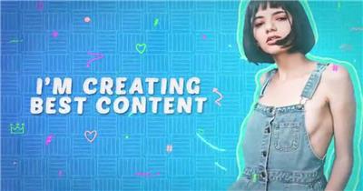 彩色涂鸦小元素和时尚抠像人物宣传开场片头