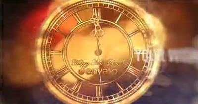 华丽金色钟表新年午夜一分钟倒计时开场动画