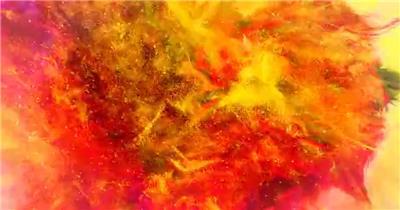 彩色粒子粉尘喷涌而来并揭示出标志