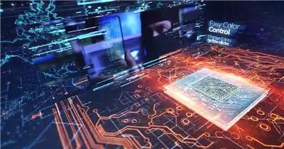 未来派微芯科技空间感幻灯片内容展示,含长短2种时长
