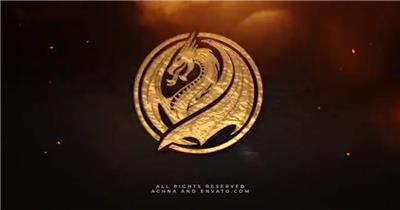 象征着权力力量的金色史诗三维标志演绎动画