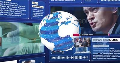 全球新闻播报电视栏目包装AE模板,含片头、字幕条等