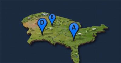图钉图标等样式的3D效果地图定位标记素材