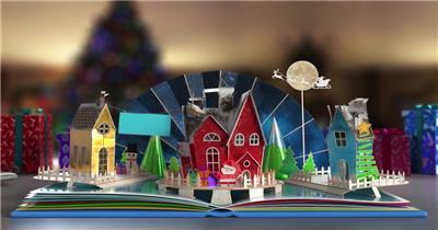 立体书本圣诞节卡片打开后神奇的一幕出现了AE模板
