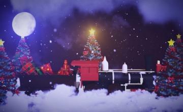圣诞节云雾夜晚送礼物片头AE模板