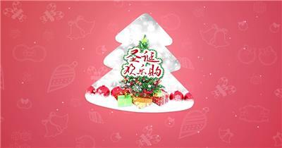圣诞节雪花节日图文片头AE模板