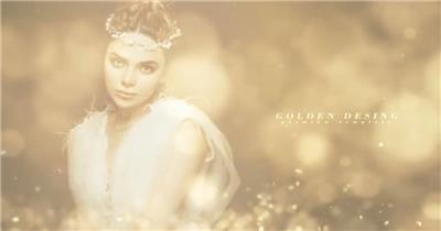 华丽金色粒子光斑中的图像内容展示开场,适合婚礼、颁奖等